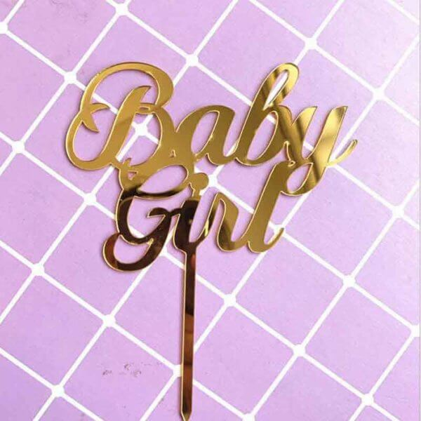 Baby Girl baby boy Cake Toppers Flags Kids Happy Birthday Pink Blue Gold Cupcake Topper Party Baby Shower Decor from Online Shop - The Rose Factory