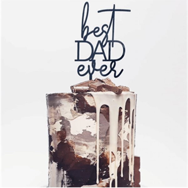Super Dad Acrylic Cake Topper Best Dad Ever Cake Decoration Fathers Day Party Decorative Cake Topper Supplies Father's Day - The Rose Factory