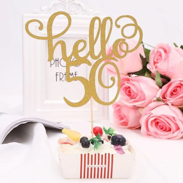 Gold Glitter Hello 50 | 60 Cake Topper For Birthday Anniversary Party Cake Decorations From Online Shop - The Rose Factory - New Zealand