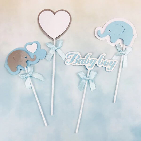 4pcs Cute Elephant Cake Topper Pink Blue Paper Baby Shower Cupcake Topper For Baby Birthday Party Cake -The Rose Factory - New Zealand