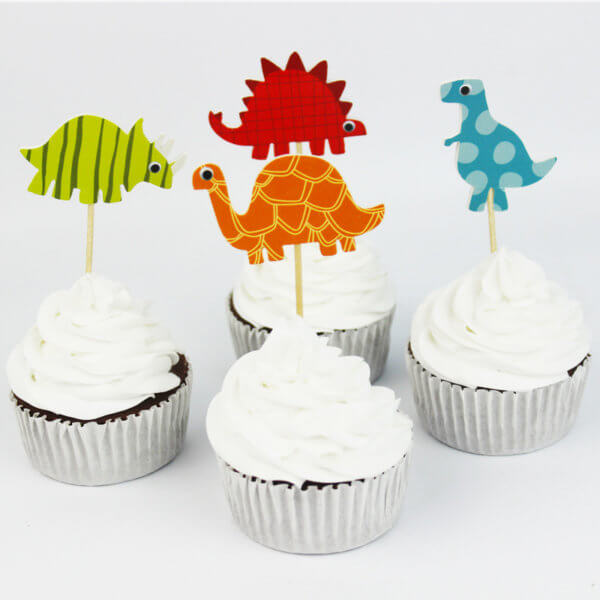 24pcs Dinosaur Cupcake Topper Paper Birthday Party Boy Cake Decorating Supplies for Baby Shower Dessert Decor 4 styles